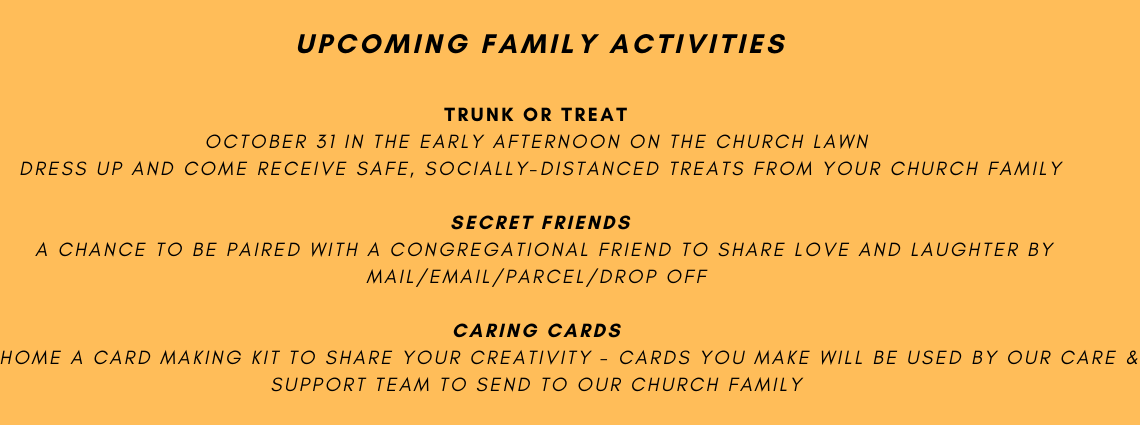 Upcoming Family Activities